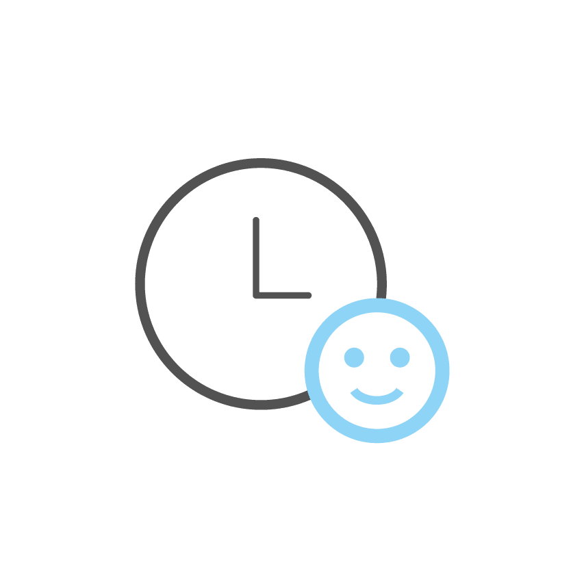 Clock with Happy Face Showing Short Surgery Time as Benefit to Facelift